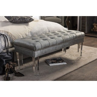 Baxton Studio Edna Modern Contemporary Grey Microsuede Upholstered Luxe Tufted Rectangular Ottoman Bench with Acrylic Legs