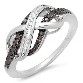 Two-tone Sterling Silver 1/5ct TDW Black and White Diamond Infinity Ring (I-J, I2-I3)