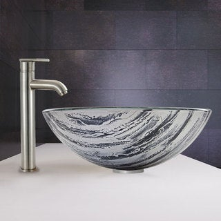 VIGO Rising Moon Glass Vessel Sink and Seville Faucet Set in Brushed Nickel Finish