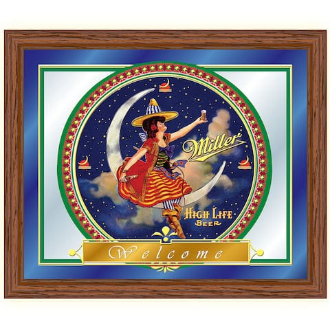 Miller High Life Girl in the Moon Mirror - 16 x 19 Inches