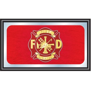 Fire Fighter Wood Framed Mirror BIG 15 x 26 inches