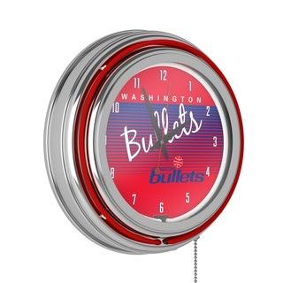 Washington Bullets Hardwood Classics NBA Chrome Neon Clock