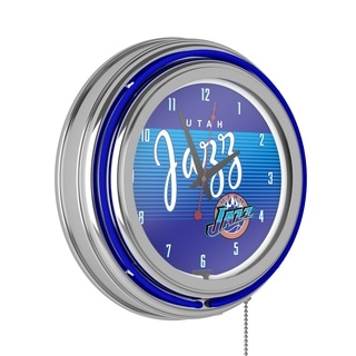 Utah Jazz Hardwood Classics NBA Chrome Neon Clock