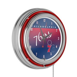 Philadelphia 76ers Hardwood Classics NBA Chrome Neon Clock