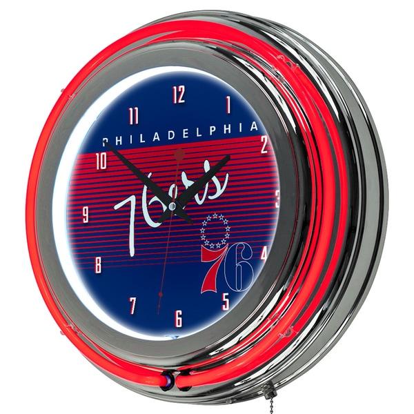 Philadelphia 76ers Hardwood Classics NBA Chrome Neon Clock