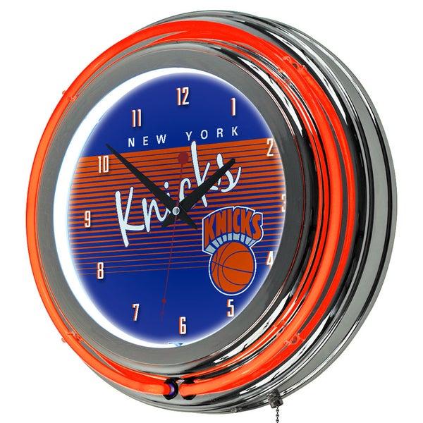 New York Knicks Hardwood Classics NBA Chrome Neon Clock