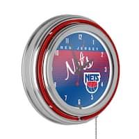 New Jersey Nets Hardwood Classics NBA Chrome Neon Clock