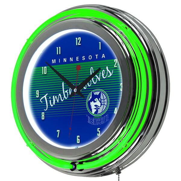 Minnesota Timberwolves Hardwood Classics NBA Chrome Neon Clock