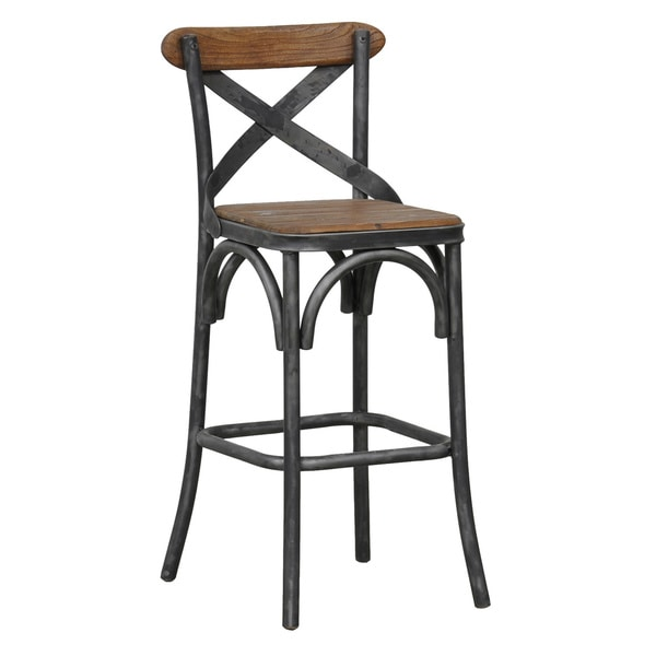 Dixon Reclaimed Wood and Iron 24-inch Barstool by Kosas Home