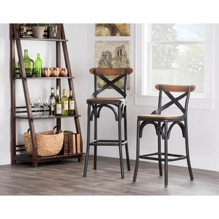 Kosas Home Dixon Rustic Brown and Black Reclaimed Pine and Iron Counter Stool
