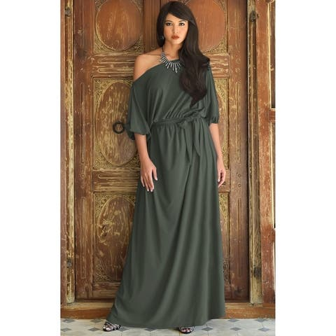 KOH KOH Long One Off Shoulder 3/4 Sleeve Dressy Sexy Maxi Dress Gown