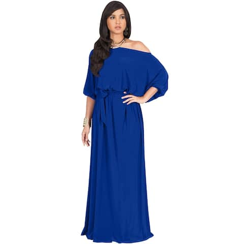 bb5556e803fc0 KOH KOH Long One Off Shoulder 3/4 Sleeve Dressy Sexy Maxi Dress Gown