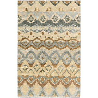 ecarpetgallery Ikat Royale Blue, Yellow Wool Rug (5'11 x 8'11)