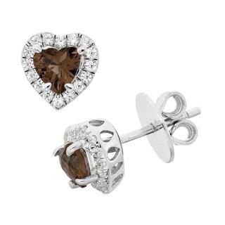 Isla Simone Platinum Plated Silver Heart Cucbic Zirconia Earring