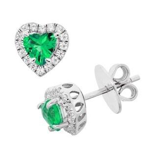 Isla Simone Fine Jewelry Platinum Plated Silver Heart Cucbic Zirconia Earring