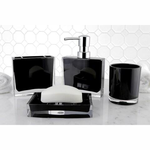 Modern Black 4-piece Bath Accessory Set