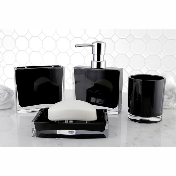 Shop modern black 4 piece bath accessory set free - Modern bathroom accessories sets ...
