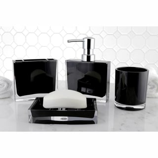 Modern Black 4-piece Bath Accessory Set