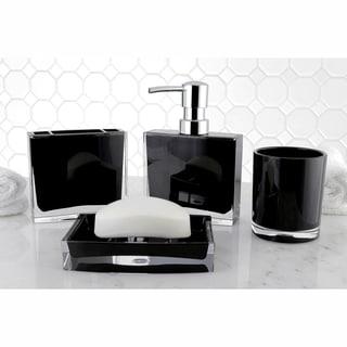 Modern Black 4 Piece Bath Accessory Set (Option: Black)