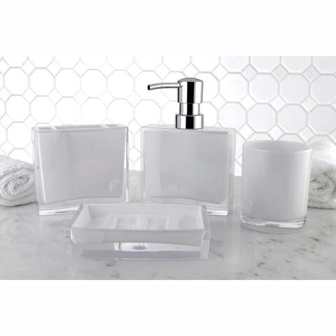 Modern White 4-Piece Bath Accessory Set