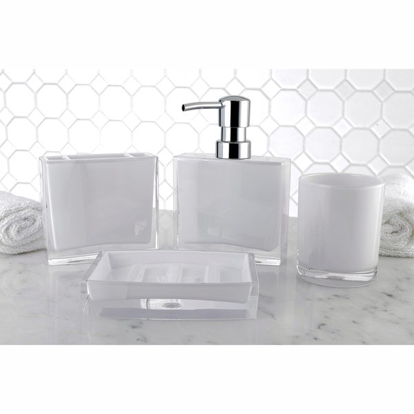 Modern white 4 piece bath accessory set free shipping on for White bath accessories sets
