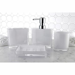 silver sparkle bathroom accessories. Modern White 4 Piece Bath Accessory Set Bathroom Accessories For Less  Overstock com