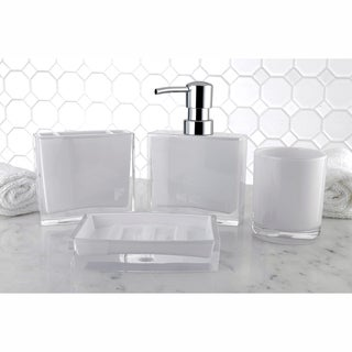 Modern White 4 Piece Bath Accessory Set
