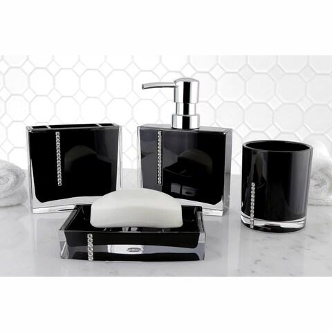 Crystal Black 4-piece Bath Accessory Set