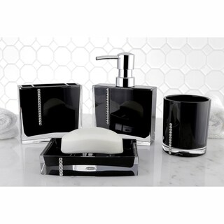 Crystal Black 4-piece Bath Accessory Set