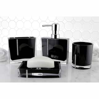 black accessories for bathroom. Crystal Black 4 piece Bath Accessory Set Bathroom Accessories For Less  Overstock com