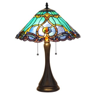 Chloe Lighting Tiffany Style Victorian Design 2-light Antique Bronze Table Lamp