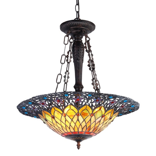 Antique Tiffany Hanging Lamp Value: Chloe Lighting Tiffany Style Traditional Design 3-light