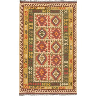 ecarpetgallery Hereke Kilim Red, Yellow Wool Kilim (5'3 x 8'6)