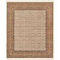 Hand-knotted Royal Mahal Beige Wool Rug (8'2 x 9'11)