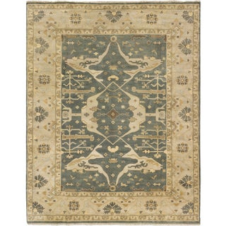 ecarpetgallery Royal Ushak Blue, Gray Wool Rug (9'2 x 11'9)