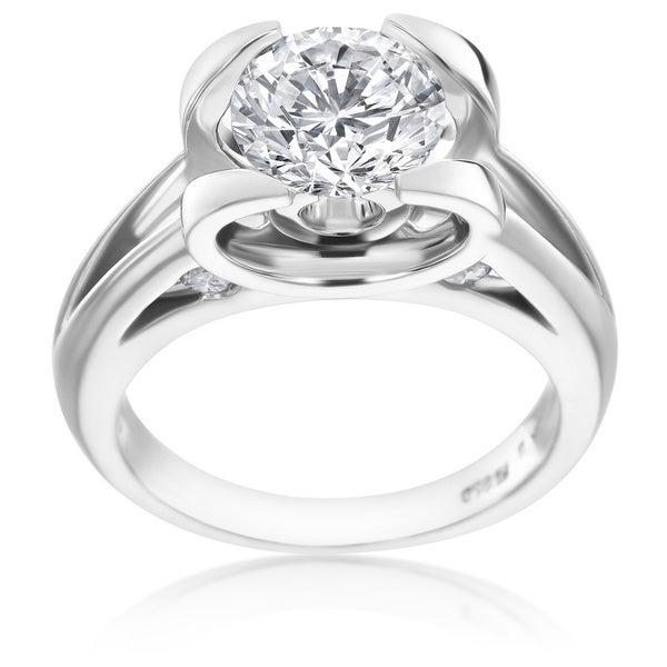 SummerRose Platinum 1 7/8ct TDW Unique Diamond Engagement Ring - White