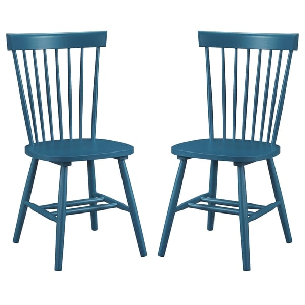 c8d918ed52db4 Shop Dunner Danish Design Spindle Back Blue Teal Dining Chairs (Set of 2) -  Free Shipping Today - Overstock - 10650182