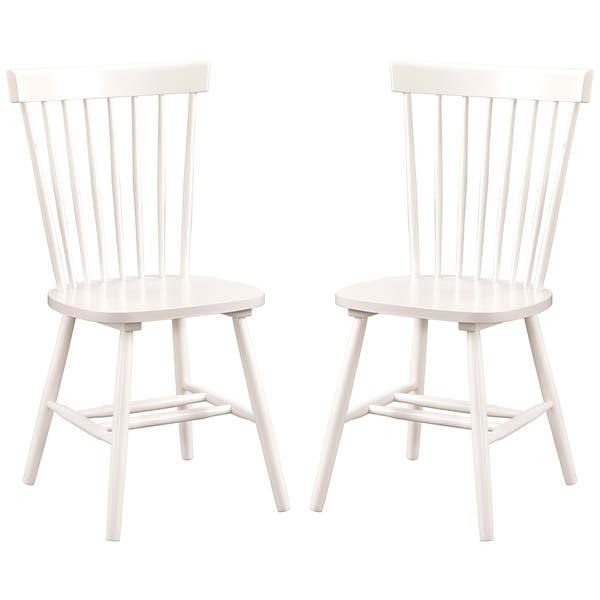 Sensational Dunner Danish Design Spindle Back White Dining Chairs Set Of 2 Alphanode Cool Chair Designs And Ideas Alphanodeonline