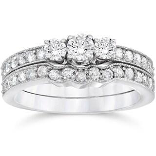 10k White Gold 3/4ct TDW 3-stone Diamond Engagement Wedding Ring Set (I-J,I2-I3)