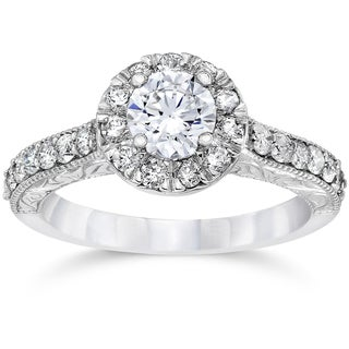 14k White Gold 3/4ct TDW Halo Round Diamond Vintage Engagement Ring