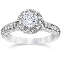 14k White Gold 3/4ct TDW Halo Round Diamond Vintage Engagement Ring