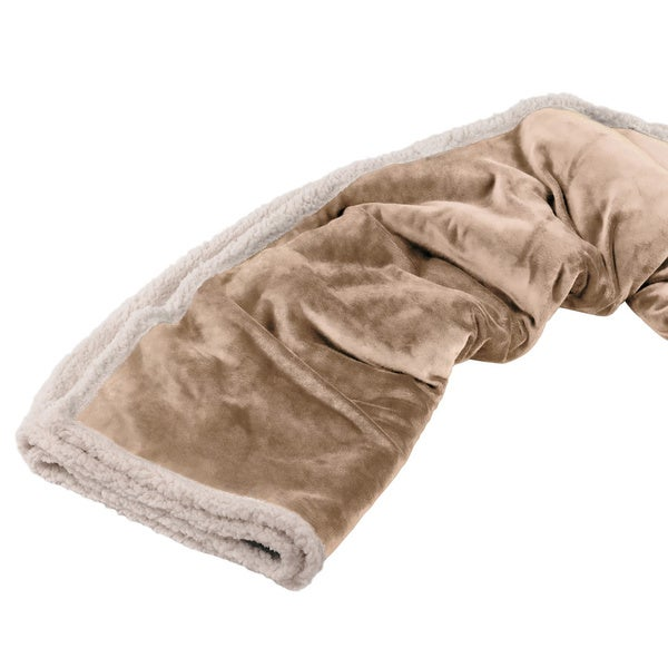 Deluxe Comfort Eco Fleece Throw Blanket, 50 x 60 - Whip Stitched Edging - Throw Blanket, Beige