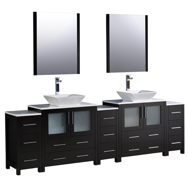 96 Inch Bathroom Vanity Home Depot: Fresca Torino 96-inch Espresso Modern Double Sink Bathroom