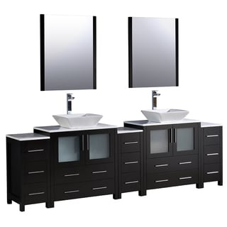 Fresca Torino 96-inch Espresso Modern Double Sink Bathroom Vanity with 3 Side Cabinets and Vessel Sinks