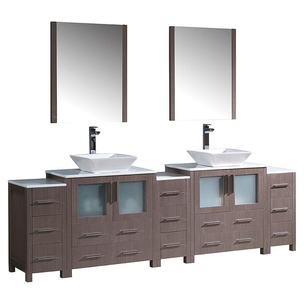 Shop Fresca Torino 96-inch Grey Oak Modern Double Sink ...