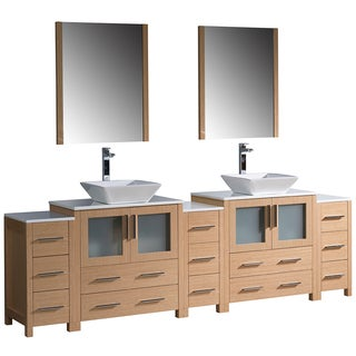 Fresca Torino 96-inch Light Oak Modern Double Sink Bathroom Vanity with 3 Side Cabinets and Vessel Sinks