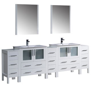 Fresca Torino 96-inch White Modern Double Sink Bathroom Vanity with 3 Side Cabinets and Integrated Sinks