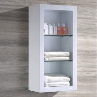 Fresca Allier White Bathroom Linen Side Cabinet with 2 Glass Shelves