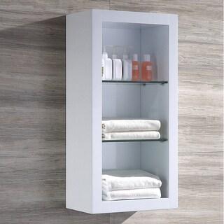 Fresca Allier White Bathroom Linen Side Cabinet with 2 Glass Shelves
