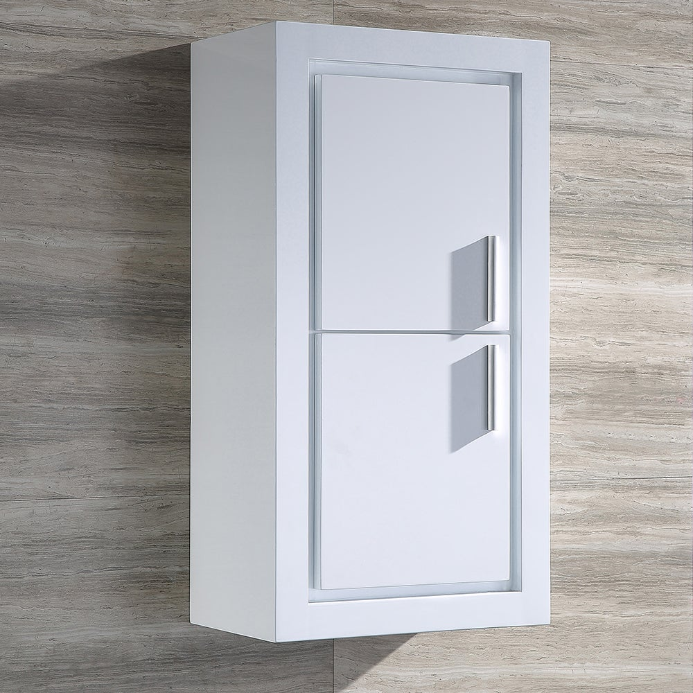 Fresca Allier White Bathroom Linen Side Cabinet with 2 Do...